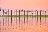 Sunset in U Bein bridge, Myanmar — Stock Photo