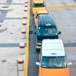 Top view on queue of taxicabs - Stock Photo
