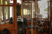 Interior of old tourist tram cabin — Stock Photo
