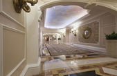 Classic wide corridor with marble floor and carpet — Stock Photo
