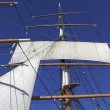 Sails and rigging on masts — Stock Photo