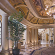 Stock Photo: Luxury classic colonnade corridor and ornate luster
