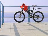 Bicicletta da solo presso il recinto di fronte mare in una giornata di sole — Foto Stock