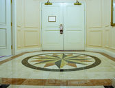 Anteroom with double door and mosaic marble floor — Stock Photo