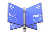 Isolated roadsign with geographic directions in English — Stock Photo