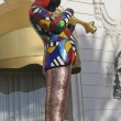 Jazz trumpeter Miles Davis mosaic statue outside of Hotel Negresco by French sculptor Niki de Saint Phalle - Stock Photo