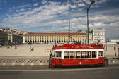Red sightseeing tram starts from downtown Commerce square Lisbon — Stock Photo