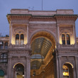 Stock Photo: Shopping arcade center gallery Victor Emmanuel at Milan's Piazzdel Duomo in evening