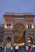 Shopping arcade center gallery Victor Emmanuel at Milan's Piazza del Duomo in the evening — Stock Photo