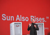 CEO of Oracle Larry Ellison makes his first speech at Oracle OpenWorld conference in Moscone center — Stock Photo