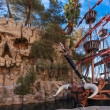 Pirate ship at pond near Treasure Island hotel in Las Vegas - Stock Photo