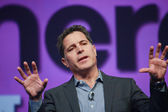 Fast Company founding editor Bill Taylor delivers an address to IBM Lotusphere 2012 conference — Stock Photo