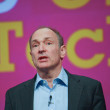 Inventor and founder of World Wide Web Sir Tim Berners-Lee delivers an address to IBM Lotusphere 2012 conference - Stok fotoğraf