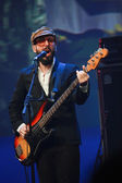 Tim Nordwind vocals and bass guitar player of rock band OK Go performs at IBM Lotusphere conference — Stock Photo