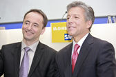 Jim Hagemann Snabe (left) and Bill McDermott (right) on public p — Stock Photo