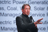 CEO of Oracle Larry Ellison makes his second speech at Oracle OpenWorld conference in Moscone center — Stock Photo