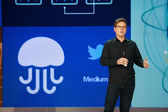 Twitter founder Biz Stone makes speech at Microsoft Convergence conference in Georgia World Congress Center — Stockfoto
