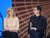 Twitter founder Biz Stone and Huffington Post Media Group President Arianna Huffington (left) at Microsoft Convergence conference panel discussion — Stock Photo