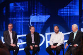 LAS VEGAS, NV - MAY 6, 2014: David Goulden, Pat Gelsinger, Paul Maritz and Joe Tucci (left to right) announce federation business model at EMC World 2014 conference on May 6, 2014 in Las Vegas, NV — Foto de Stock