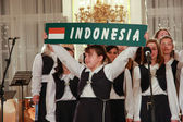 PRAGUE, CZECH REPUBLIC - NOVEMBER 11, 2011: Children's Choir sing Indonesia song in Prague Castle on November 11, 2011, Prague, Czech Republic. Prague Castle is the largest ancient castle in the world — Stock Photo