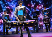 ATLANTA, GA, USA, MARCH 4, 2014 - Spirit Drum and Bugle Corps ensemble play at Microsoft Convergence conference opening in Georgia Congress Center on March 4, 2014 in Atlanta, GA, USA — Foto de Stock