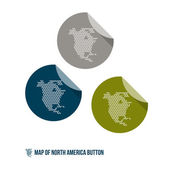 Mapa severní ameriky tlačítka — Stock vektor