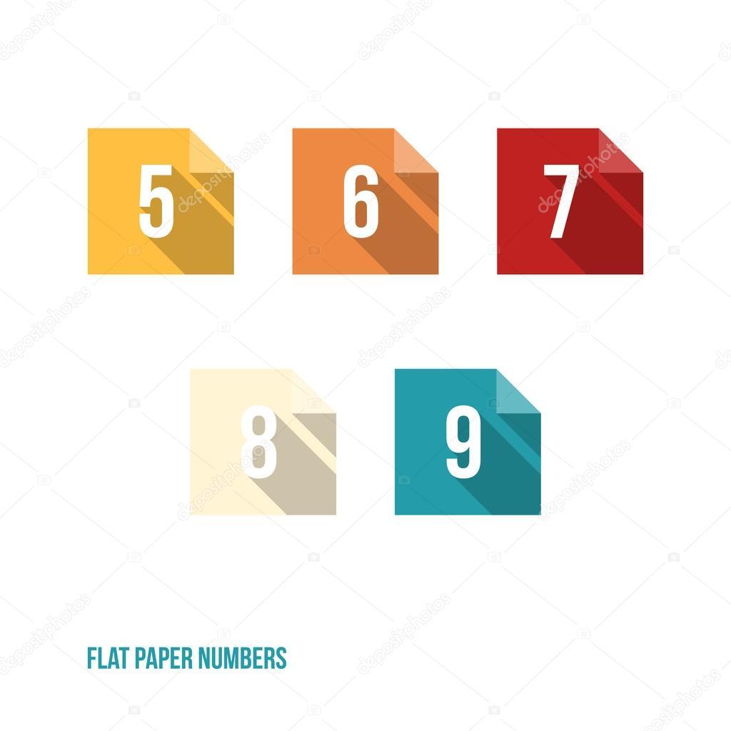 5 6 7 8 9-平面设计论文数字按钮-矢量图— 矢量图片作者 lukasflekal