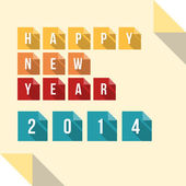 Happy New Year 2014 Flat Paper Card — Stock Vector