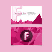 Low Poly Business Card Template with Alphabet Letter F — Stock Vector