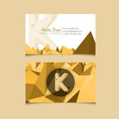 Low Poly Business Card Template with Alphabet Letter K — Stock Vector