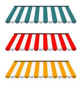 Eps vektor 10 - färgstark uppsättning randiga markiser — Stockfoto