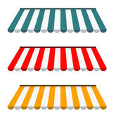 Eps vetor 10 - conjunto de toldos listrados coloridos — Foto Stock