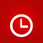 Icono de reloj vector sobre fondo rojo — Foto de Stock