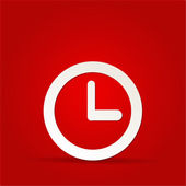 Vector clock icon on red background — Stock Photo