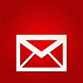 EPS Vector 10 - mail icon on isolated on red — Stock Vector