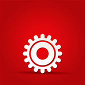EPS Vector 10 - gear icon on isolated on red — Stock Vector