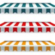 Stock Vector: Colorful set of striped awnings