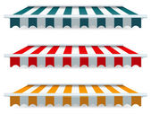 Colorful set of striped awnings — Stock Vector