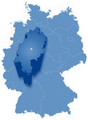 Map of Germany where Hesse (Hessen) is pulled out — ストックベクタ