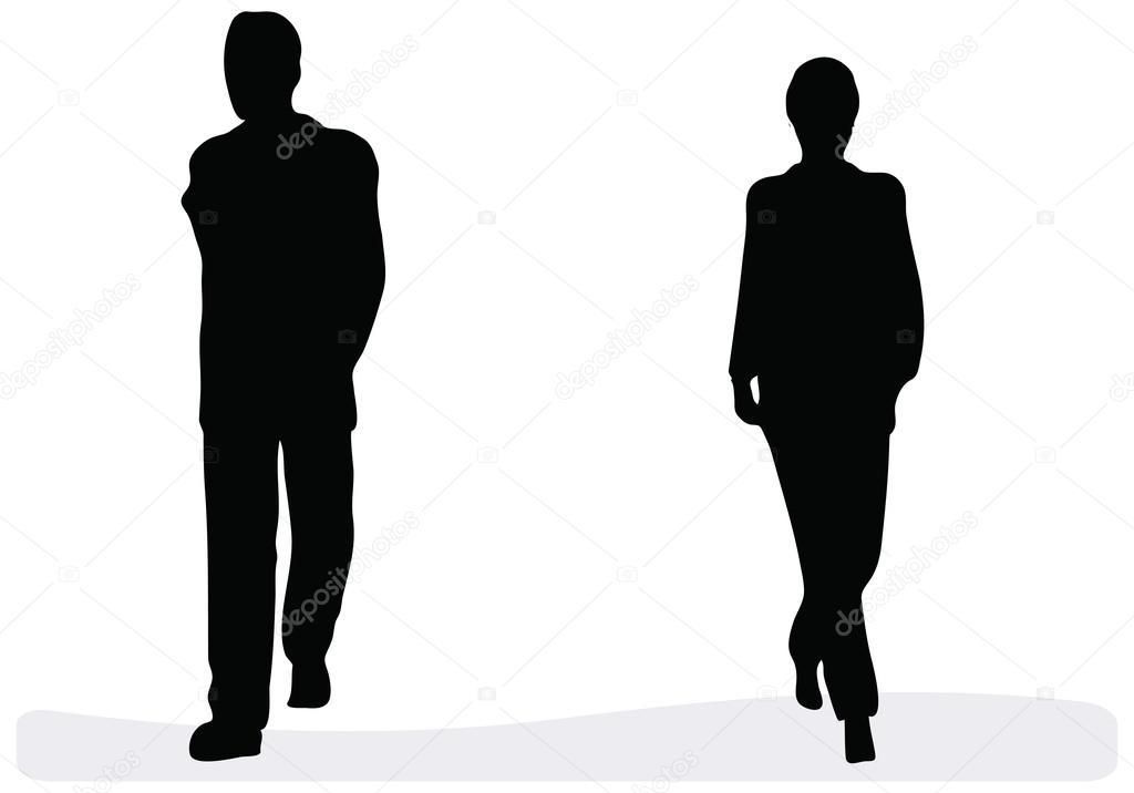 商务男人和女人走路,孤立在一个白色的背景