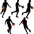 Stock Vector: Basketball players silhouette collection in dribble position