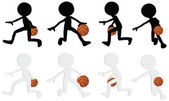 Basketball players silhouette collection in dribble position — Stock Vector