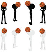 Basketball players silhouette collection in free throw position — Stock Vector