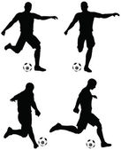 Poses of soccer players silhouettes in run and strike position — Stock Vector