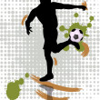 Soccer player kicking a soccer ball — Stock Vector