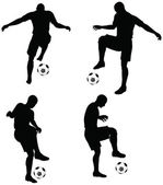 Poses of soccer players silhouettes in dribble position — Stock Vector