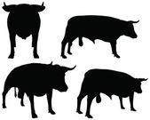 Cattle collection - vector silhouette — Stock Vector