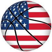 Basketball ball with usa flag on white. — Stock Vector