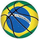 Basketball ball with brazilian flag on white. — Stock Vector