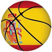Basketball ball with spanish flag on white. — Stock Vector